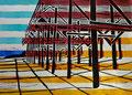 """Thomas Landt - """"Kampen Hauptstrand"""" - Farb-Linoldruck auf Bütten - 30x42 cm - 2011 - Auflage 4/20 - Sylt"""
