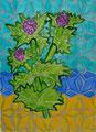 "Thomas Landt - ""Kampener Strand-Distel"" - aquarell. Linoldruck - 42x30 cm - 2013 - Auflage 8/20 - Sylt"