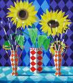 """Thomas Landt - """"Die Gelassenheit der inneren Sonnenblumen"""" - Öl auf L. - 90x80 cm - 2002 - Privatbesitz - Sylt"""