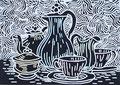 """Thomas Landt - """"Kaffee schwarz-weiss"""" - Linoldruck auf Bütten - 30x25 cm - 2007 - Auflage 4/10 - Sylt"""