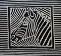 """Thomas Landt - """"Zebra II"""" - Linoldruck auf Bütten - 30x28 cm - 2009 - Auflage 4/10 - Sylt"""