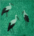 """Thomas Landt - """"Drei Störche"""" - Aquatinta-Farb-Radierung auf Bütten - 10x10 cm - 2008 - Auflage 4/10 - Sylt"""