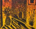 """Thomas Landt - """"Guten Morgen Ananas"""" - Farb-Linoldruck auf Bütten - 60x40 cm - 1999 - Auflage 10/20 - Sylt"""