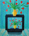 """Thomas Landt - """"Die Wirklichkeit der wilden Tulpen sieht anders aus"""" - Öl auf L. - 120x100 cm - 2000 - Privatbesitz - Sylt"""