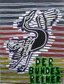 """Thomas Landt - """"Der Bundes-Reiher"""" - Farb-Linoldruck auf Bütten - 15x30 cm - 2007 - Auflage 3/10 - Sylt"""