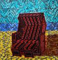 """Thomas Landt - """"Der innere Strand-Korb"""" - Farb-Linoldruck auf Bütten - 40x38 cm - 2008 - Auflage 4/10 - Sylt"""
