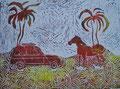 """Thomas Landt - """"Pferdestärken am Strand"""" - Farb-Linoldruck auf Bütten - 40x30 cm - 1998 - Auflage 3/10 - Sylt"""