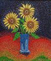 """Thomas Landt - """"Sonnenblumen auf den Punkt gebracht"""" - Öl auf L. - 90x80 cm - 1999 - Privatbesitz - Sylt"""
