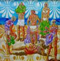 """Thomas Landt - """" Studie zu: Unser täglich Strand ( Freundschaftskreis der Ornamentalisten ) """" - Öl auf L. - 120 x 120 cm - 2018 - Sylt"""