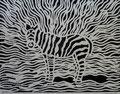 "Thomas Landt - ""Zebra I"" - Linoldruck auf Bütten - 30x20 cm - 2009 - Auflage 4/10 - Sylt"