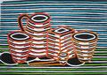 """Thomas Landt - """"Hommage a Baudelaire"""" - Farb-Linoldruck auf Bütten - 40x50 cm - 2009 - Auflage 5/10 - Sylt"""