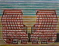 "Thomas Landt - Motiv 10 - ""Sternzeichen Sylt: Zwilling"" - Farb-Linolschnitt - 21x15 cm - Kunstpostkarte - Sylt"