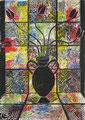 """Thomas Landt - """"Die wilden Tulpen"""" - aquarell. Linoldruck - 40x20 cm - 2006 - Auflage 5/10 - Sylt"""
