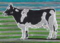 """Thomas Landt - """"Die Zeit der Kuh"""" - Farb-Linoldruck auf Bütten - 40x50 cm - 2009 - Auflage 8/20 - Sylt"""