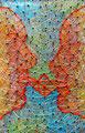 "Thomas Landt - ""Don Quichote + Sancho Pansa"" - Nägel + Seidengarn auf Treibholz - 34 x 22 cm - 2016 - Sylt"