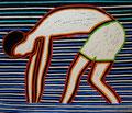 """Thomas Landt - """"Austern-Fischer"""" - Farb-Linoldruck auf Bütten - 42x44 cm - 2011 - Auflage 3/10 - Sylt"""