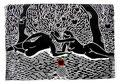 """Thomas Landt - """"Die paradiesische Versuchung"""" - Linoldruck auf Bütten - 40x60 cm - 1999 - Auflage 8/20 - Sylt"""