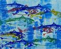 """Thomas Landt - """" Makrelen, mit dem Rücken zur Schwimmrichtung - handgeduckter, farbiger Linoldruck auf Bütten - 40 x 35 cm - 2019 - Auflage E. A. - Sylt"""