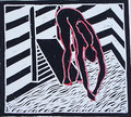 """Thomas Landt - """"Sprung ins kalte Wasser"""" - Linoldruck auf Bütten - 30x20 cm - 2007 - Auflage 8/10 - Sylt"""
