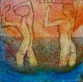 """Thomas Landt - """"Flut"""" - Aquatinta-Farb-Radierung auf Bütten - 10x10 cm - 2008 - Auflage 4/50 - Sylt"""
