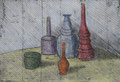 """Thomas Landt - """"Stilleben koloriert"""" - Kaltnadel-Radierung auf Bütten - 20x30 cm - 2004 - Auflage 5/10 - sylt"""