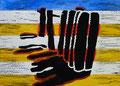 """Thomas Landt - """"Buhne"""" - Farb-Linoldruck auf Bütten - 20x30 cm - 2011 - Auflage 4/20 - Sylt"""