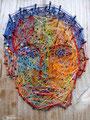 """Thomas Landt - """"Der junge Gulliver ( Seemanns-Garn )"""" - Nägel + Seidengarn auf Treibholz - 34 x 24 cm - 2016 - Sylt"""