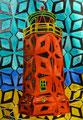 """Thomas Landt - """"Quermarken-Feuer Kampen"""" - aquarell. Linoldruck - 42x30 cm - 2013 - Auflage 8/30 - Sylt"""
