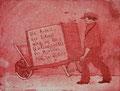 """Thomas Landt - Motiv 20 - """"Die Arbeit der Zukunft ..."""" - Aquatinta-Farb-Radierung - 21x15 cm - Kunstpostkarte - Sylt"""
