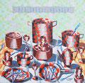 """Thomas Landt - """"Der grosse Abwasch"""" - Öl auf L. - 140x140 cm - 2002 - Privatbesitz - Sylt"""