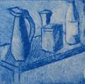 """Thomas Landt - """"Vasen en detail"""" - Aquatinta-Farb-Radierung auf Bütten - 10x10 cm - 20 x 20 cm - 2004 - Auflage 3/10 - Sylt"""