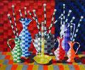 """Thomas Landt - """"Zufriedene Vasen"""" - Öl auf L. - 90x75 cm - 2002 - Privatbesitz - Sylt"""