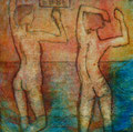 "Thomas Landt - Motiv 3 -  ""Ebbe"" - Aquatinta-Farb-Radierung - 21x15 cm - Kunstpostkarte - Sylt"