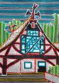"""Thomas Landt - """"Das Haus des Mutigen"""" - Farb-Linodruck auf Bütten - 40x50 cm - 2009 - Auflage 5/10 - Sylt"""