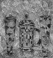 """Thomas Landt - """"Latte Macchiato"""" - Kaltnadel-Radierung auf Bütten - 20x20 cm - 2003 - Auflage 2/10 - Sylt"""