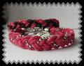 697 1-2 - Armbänder geflochten - rosa schwarz silber (EK)