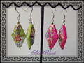 883 - Asian Power Earrings - green + pink