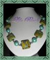 355 - Kettelkette mit Perlen Murano Art - grün gelb türkis (EK)