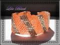 295 - Peyote Armband orange mit Rocailles und Hexaperlen II (EK)