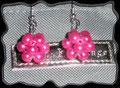 179 - RAW Cube Ohrringe - pinkfarbene Glaswachsperlen