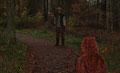Fantasie & Wirklichkeit Fotografien und Gedichte Kathrin Steiger Herbstwald Wald Herbst Herbstzeit Herbstblätter  Wanderer Vater und Tochter