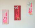 3er Bilder Neon-Buddhas weiß-rosa