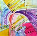 Escaleras Barrocas, tinta sobre cartón, 29 x 29 cms, 09