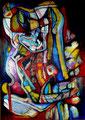 Abrazos - Mixta sobre lienzo 92 x 65 cm VENDIDA