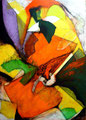 Orange Queen - Mixta sobre foam 70 x 50 cm