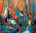 Gusanos y Capullos - Mixta sobre papel 72 x 67 cm