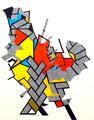 Le Coq de Saint Pierre - Mixta sobre papel 39 x 30 cms, 12,  VENDIDO