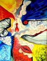 Violencia trás los Visillos (Serie Negra) - Mixta sobre lienzo 116 x 89 cm
