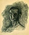 Selbstportrait; Technik: Federzeichnung auf Papier; Datum: Oktober 1975; Format (HxB): 49 x 42 cm
