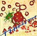 Ohne Titel; Technik: Tempera auf Papier; Datum: Februar 1986; Format (HxB):  65 x 65 cm